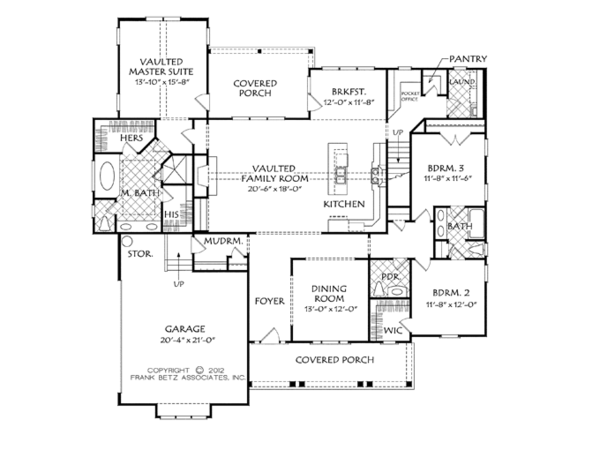 Craftsman Floor Plan - Main Floor Plan Plan #927-954