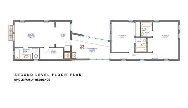 Modern Floor Plan - Upper Floor Plan Plan #535-3