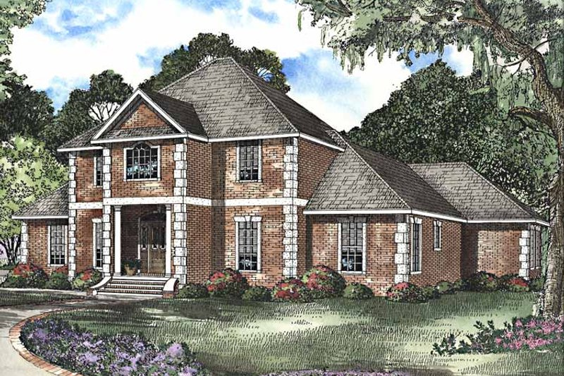 House Plan Design - Colonial Exterior - Front Elevation Plan #17-3208