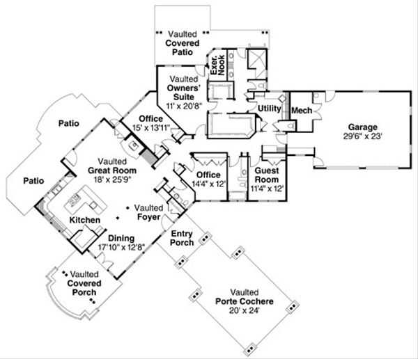 Craftsman Floor Plan - Main Floor Plan Plan #124-737