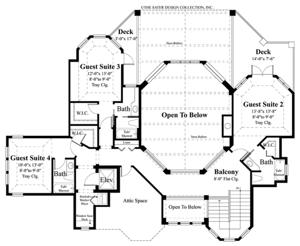 Country Floor Plan - Upper Floor Plan #930-472