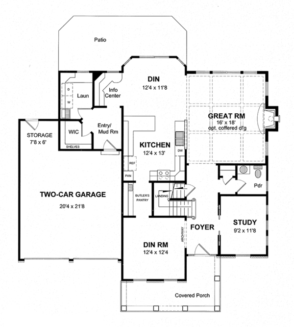 House Design - Colonial Floor Plan - Main Floor Plan #316-279