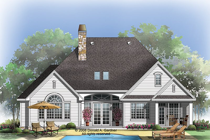 Traditional Exterior - Rear Elevation Plan #929-925 - Houseplans.com