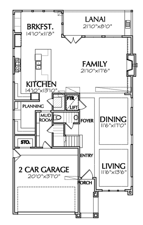 Mediterranean Floor Plan - Main Floor Plan Plan #1021-13