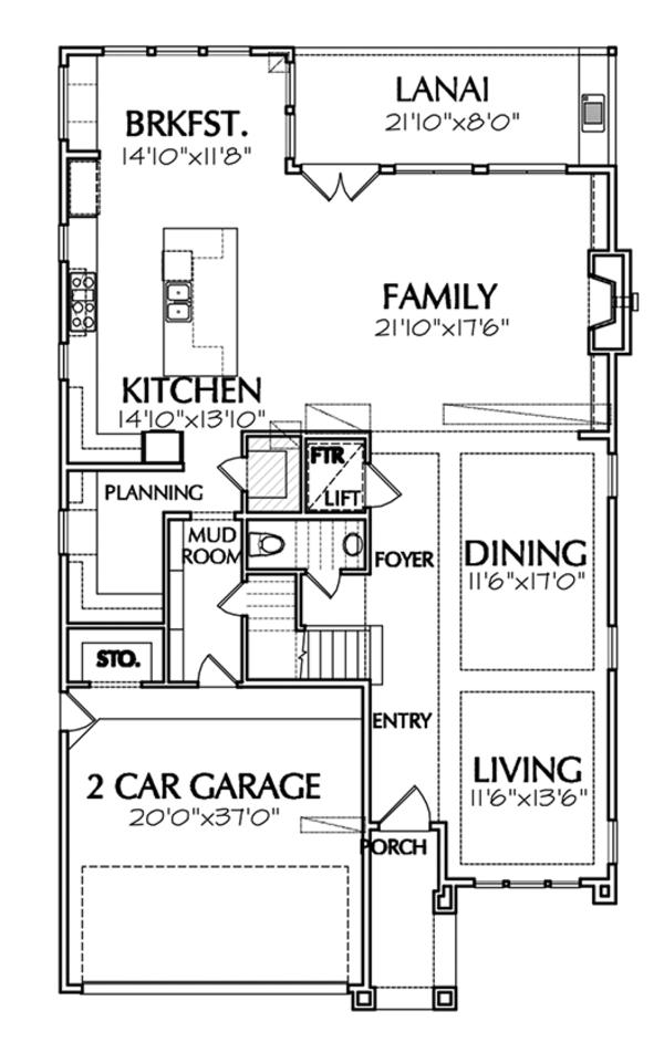 Architectural House Design - Mediterranean Floor Plan - Main Floor Plan #1021-13