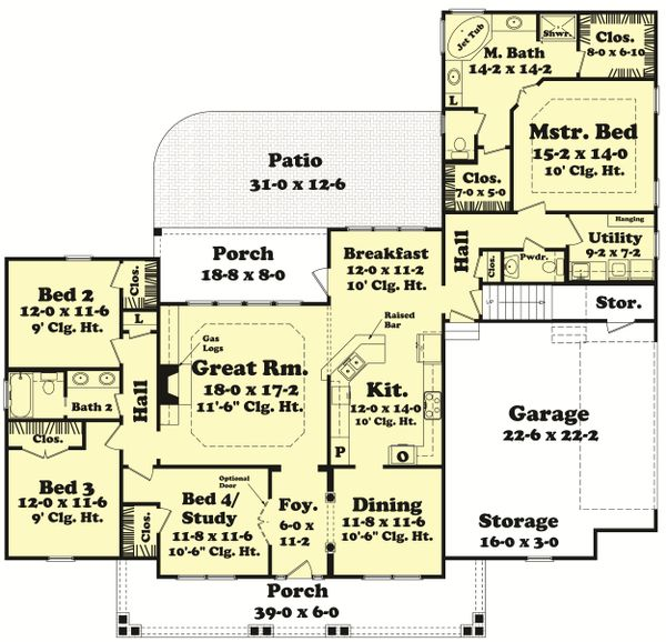 Country Floor Plan - Main Floor Plan Plan #430-47