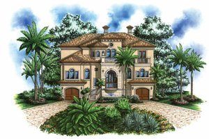Mediterranean Exterior - Front Elevation Plan #1017-109