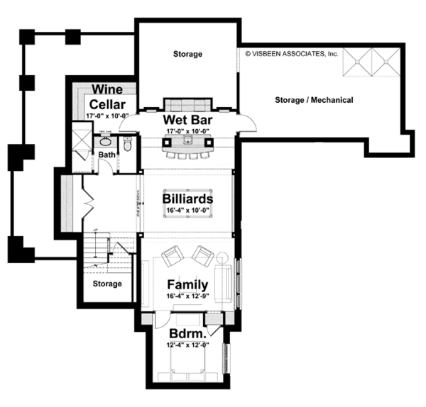 House Plan Design - Craftsman Floor Plan - Lower Floor Plan #928-239