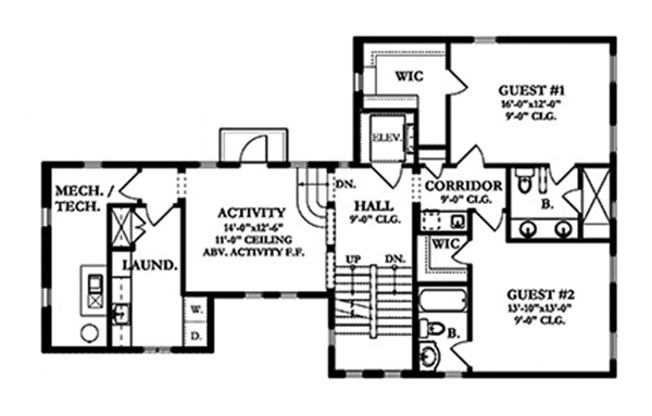 Mediterranean Floor Plan - Upper Floor Plan Plan #1058-155