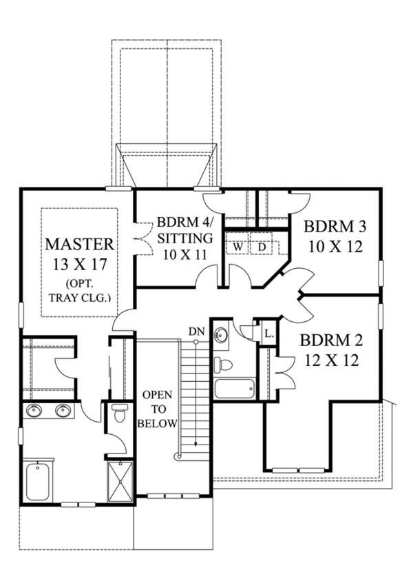 Architectural House Design - Colonial Floor Plan - Upper Floor Plan #1053-45