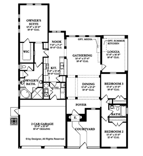 Mediterranean Floor Plan - Main Floor Plan Plan #1058-6
