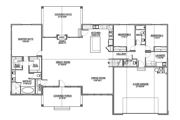 Craftsman Floor Plan - Main Floor Plan Plan #1073-3