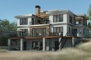 Contemporary Style House Plan - 4 Beds 4.5 Baths 4159 Sq/Ft Plan #928-352 Exterior - Rear Elevation