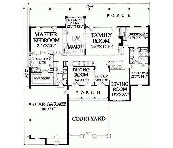Country Floor Plan - Main Floor Plan #137-279