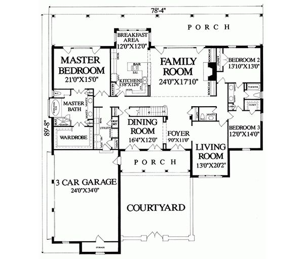 Country Floor Plan - Main Floor Plan Plan #137-279
