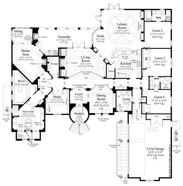 Architectural House Design - Mediterranean Floor Plan - Main Floor Plan #930-478