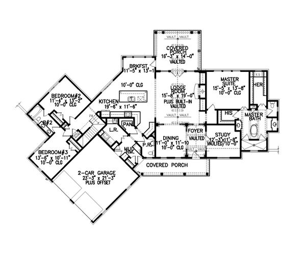 Farmhouse Floor Plan - Main Floor Plan Plan #54-384