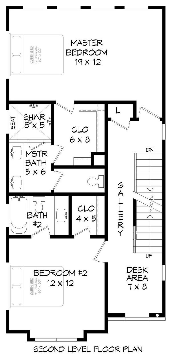 Contemporary Floor Plan - Upper Floor Plan #932-196