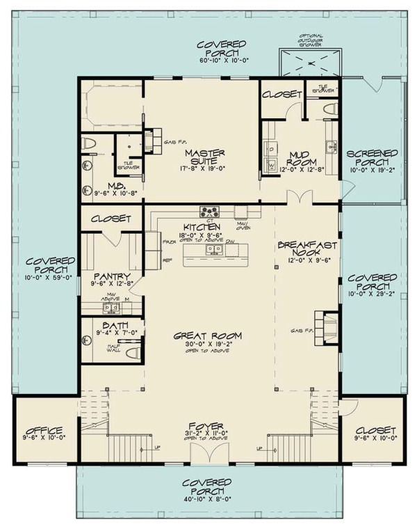 Country Floor Plan - Main Floor Plan Plan #923-97