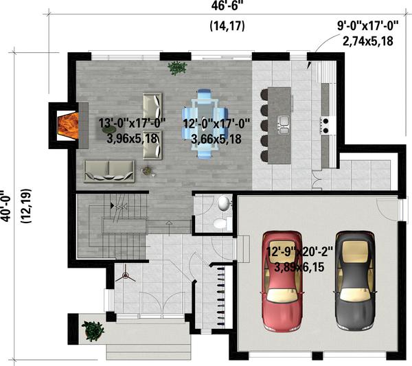 Architectural House Design - Contemporary Floor Plan - Main Floor Plan #25-4884
