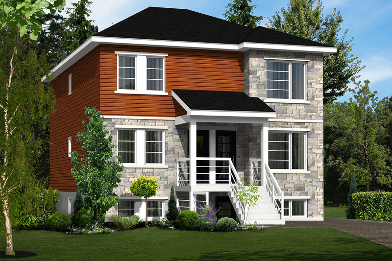 Contemporary Style House Plan - 6 Beds 3 Baths 3666 Sq/Ft Plan #25-4356 Exterior - Front Elevation