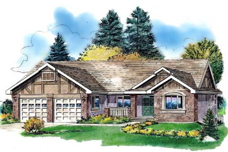 Traditional Style House Plan - 3 Beds 2 Baths 1668 Sq/Ft Plan #18-325 Exterior - Front Elevation
