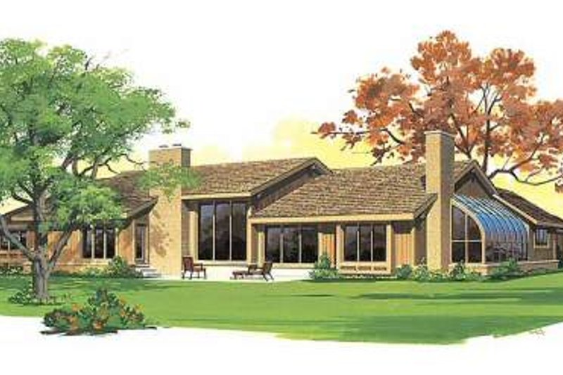 Ranch Exterior - Rear Elevation Plan #72-483 - Houseplans.com