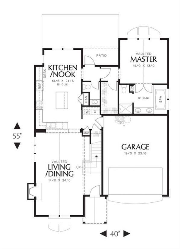 European Floor Plan - Main Floor Plan Plan #48-531