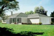 Ranch Style House Plan - 3 Beds 2 Baths 1802 Sq/Ft Plan #1-1355 Exterior - Front Elevation
