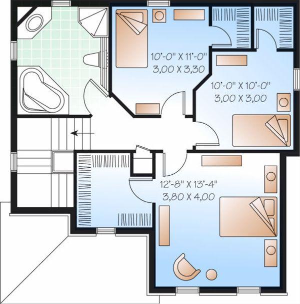 Traditional Floor Plan - Upper Floor Plan Plan #23-737