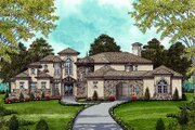 Mediterranean Style House Plan - 5 Beds 5.5 Baths 4170 Sq/Ft Plan #413-134 Exterior - Front Elevation