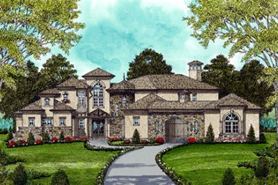 Mediterranean Exterior - Front Elevation Plan #413-134