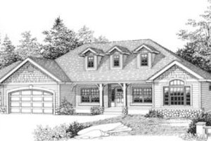 Ranch Exterior - Front Elevation Plan #53-303