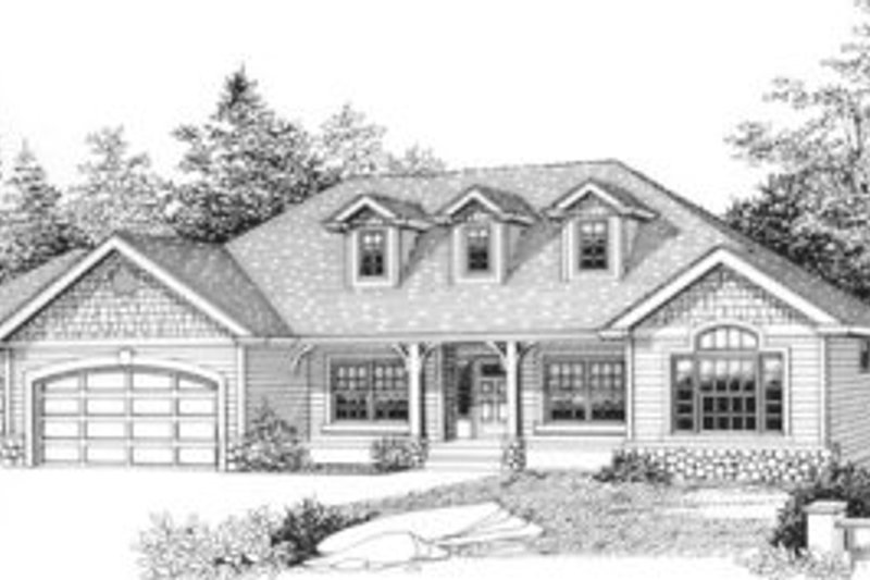 Ranch Style House Plan - 4 Beds 3.5 Baths 2960 Sq/Ft Plan #53-303 Exterior - Front Elevation