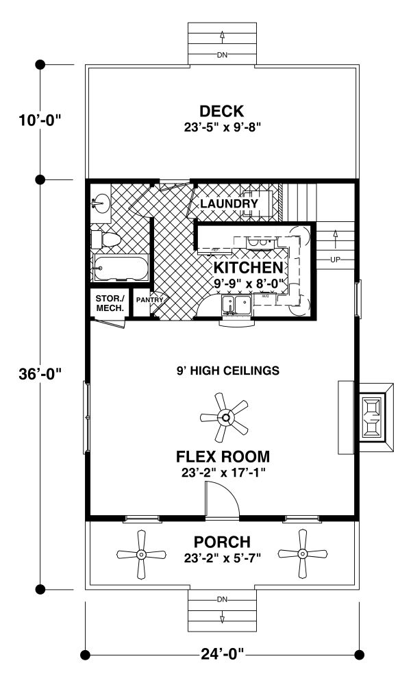 Craftsman Floor Plan - Main Floor Plan Plan #56-721