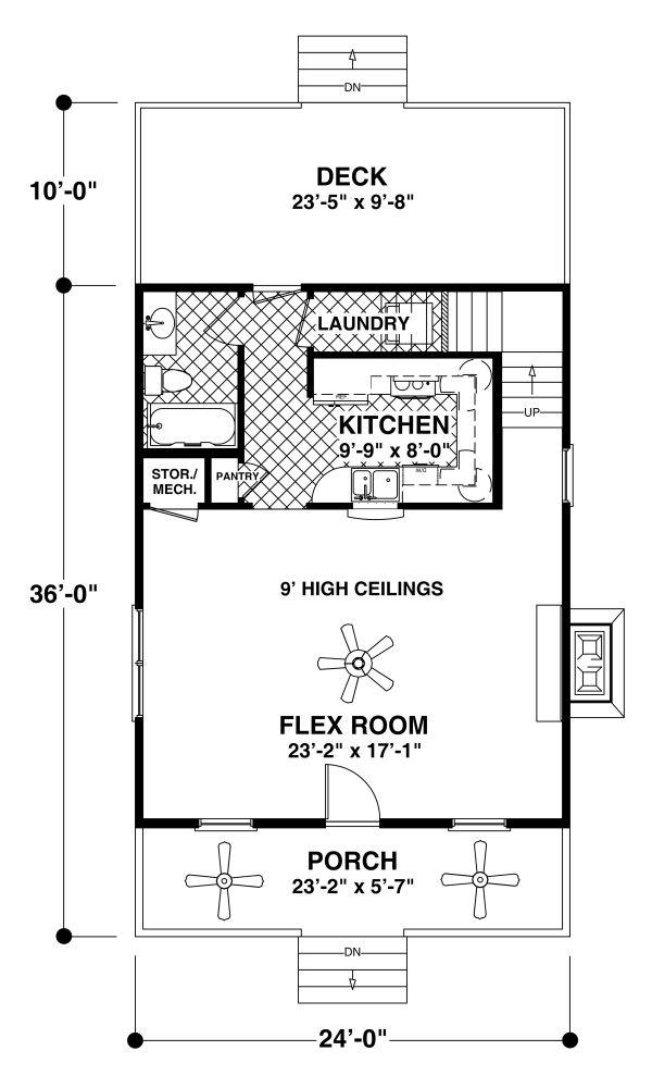 House Plan Design - Craftsman Floor Plan - Main Floor Plan #56-721