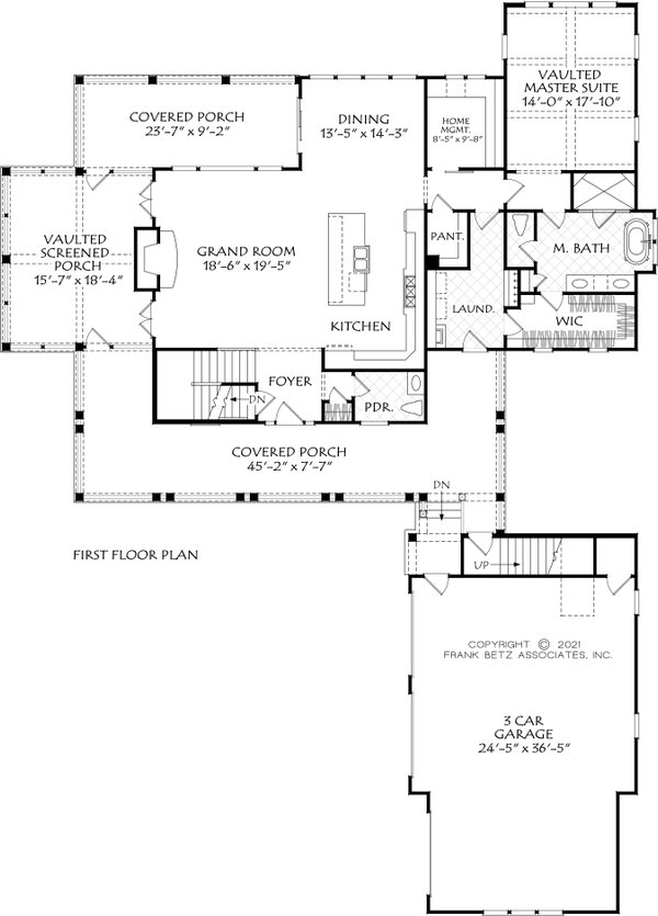 Farmhouse Floor Plan - Main Floor Plan #927-1021