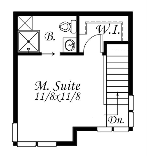 Modern Style House Plan - 1 Beds 1.5 Baths 502 Sq/Ft Plan #509-37 Floor Plan - Upper Floor Plan