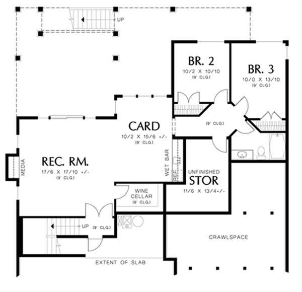 Craftsman Floor Plan - Lower Floor Plan Plan #48-461
