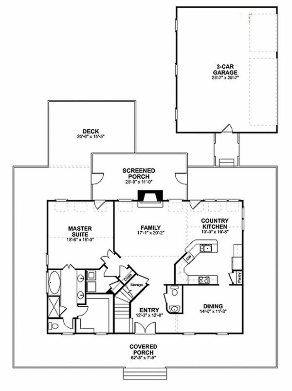 Farmhouse Floor Plan - Main Floor Plan #56-238