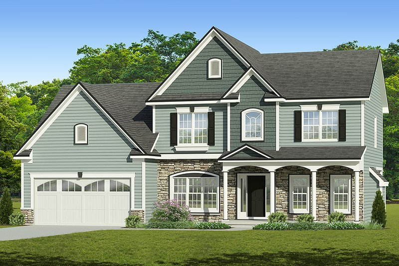 Colonial Exterior - Front Elevation Plan #1010-210