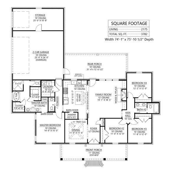 House Blueprint - Southern Floor Plan - Main Floor Plan #1074-37