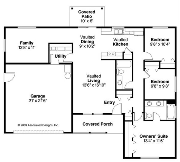 Ranch Floor Plan - Main Floor Plan Plan #124-769