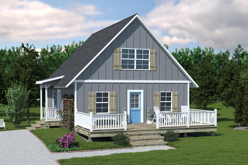 Cottage Style House Plan - 3 Beds 1.5 Baths 1154 Sq/Ft Plan #57-240 Exterior - Front Elevation