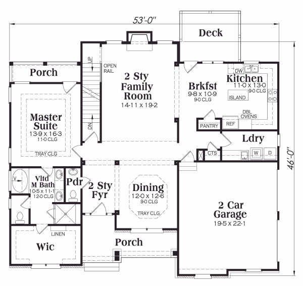 Traditional Floor Plan - Main Floor Plan Plan #419-110