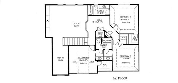 Craftsman Style House Plan - 4 Beds 4 Baths 3290 Sq/Ft Plan #437-64 Floor Plan - Upper Floor Plan