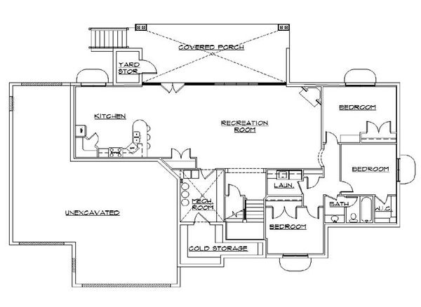 House Plan Design - Traditional Floor Plan - Lower Floor Plan #5-354