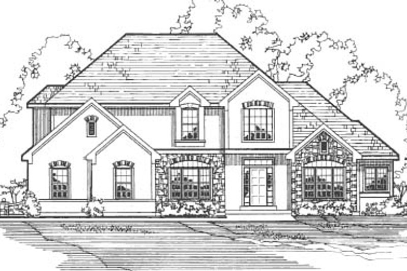 European Style House Plan - 4 Beds 4 Baths 3687 Sq/Ft Plan #31-109 Exterior - Front Elevation