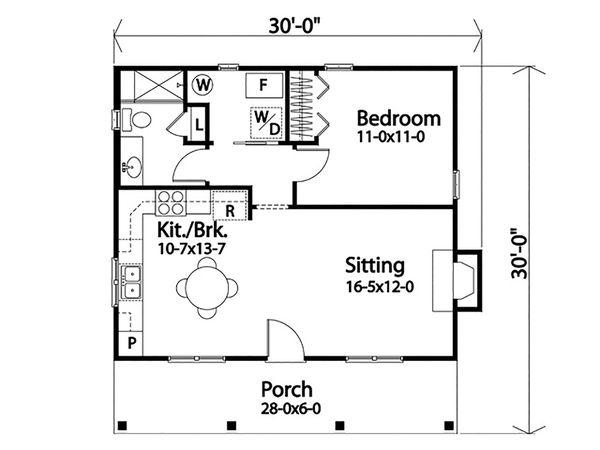 Cottage Floor Plan - Main Floor Plan #22-596