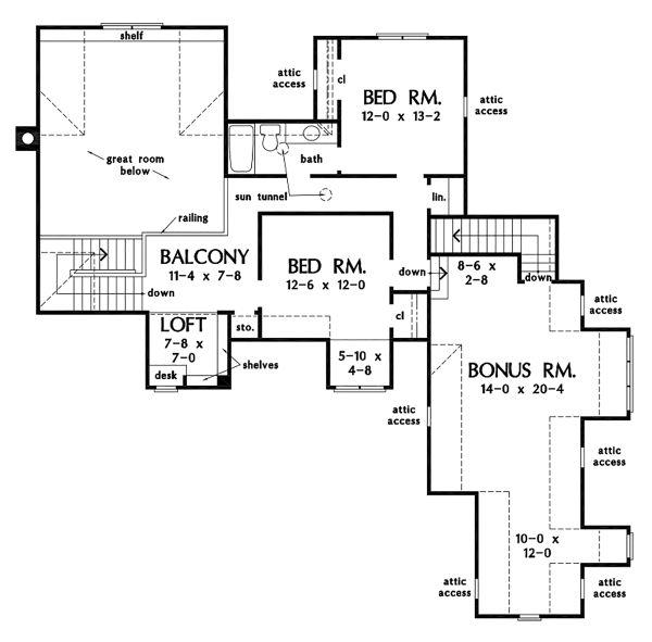 Dream House Plan - Ranch Floor Plan - Upper Floor Plan #929-1087